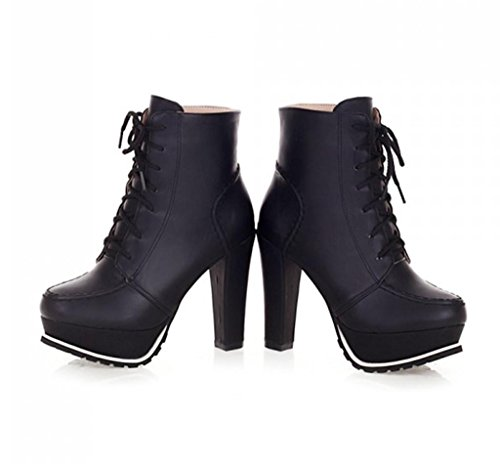 la Parte Superior la de Mujeres Temperamento de Zapatos Vendimia de Personalidad Botas de Elegantes la de Alto Baja Tacones Black Tacón Correas de Plataforma de Bomba HETAO la nzAqawTSn
