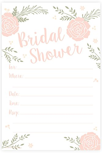 Romantic Pink Floral Bridal Shower Invitations - Fill In Style (20 Count) With Envelopes