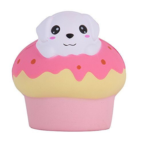 s Jumbo Slow Rising Kawaii Scented Soft Squishies Puff Dog Bread Toy for Kids or Stress Relief,Color Rose Red ()