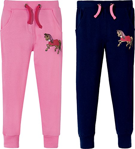 Kinderbutt Jogginghose 2er-Pack mit Druckmotiv Pferd aus Sweat rosa Größe 110 / 116