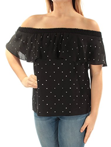 INC Womens Embellished Ruffled Casual Top Black XL