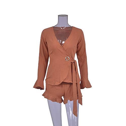 LUBITY Longues Chemise Haut Taille Deux Profond Automne Solide Cou Pices Orange Couleur Set Shorts Manches Ceinture Femme Simple Sexy Collants V Mode Parleur r4Swr