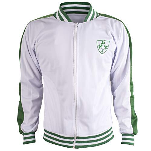 Ireland Jacket Retro Football Tracksuit Zipped Jacket Men Top - M White