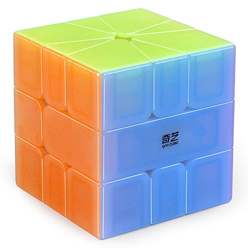 D-FantiX Qiyi QiFa S Square-1Speed Cube, Stickerless SQ-1Jelly Magic Cube Puzzle for Kids