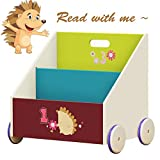 Labebe Kid Bookshelf with Wheels, Green Hedgehog Wood Bookshelf for Kid 1 Year Up, Baby Bookshelf/Child Bookshelf/Toddler Bookshelf/Kid Book Storage/Kid Room Bookshelf/Kid Book Rack Display/Book Shelf