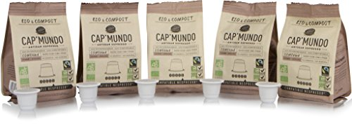 Structured and Compostable Nespresso Compatible BPA-free Coffee Capsules – Fair Trade, Dark Roast – Cap'Mundo Paris, French Artisanal Espresso (Combawa, 50 Pods for OriginalLine Machines)