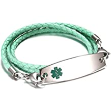 JF.JEWELRY Medical Alert ID Bracelets for Women 3-Layers Braided Leather Link Bracelets-Free Engraving
