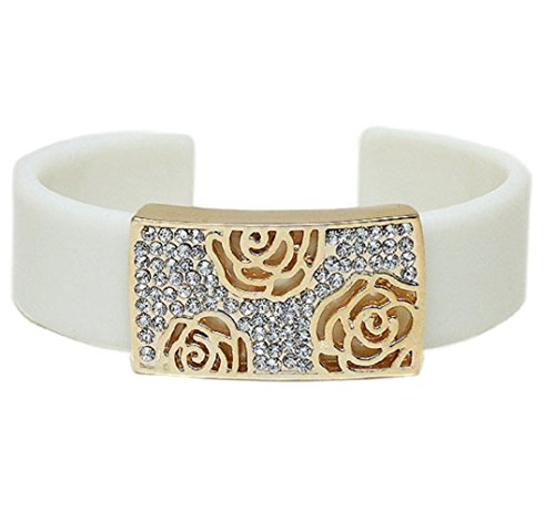 Ivory Lucite Cuff Bracelet Lightweight Design (Box#41) (Floral)