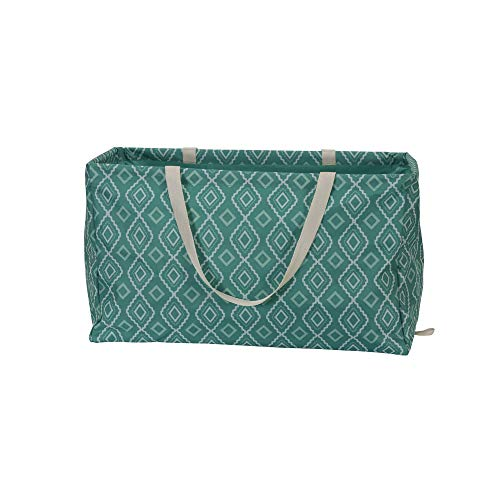 Household Essentials 2243 Krush Canvas Utility Tote | Reusable Grocery Shopping Laundry Carry Bag | Teal With White Diamonds, 22