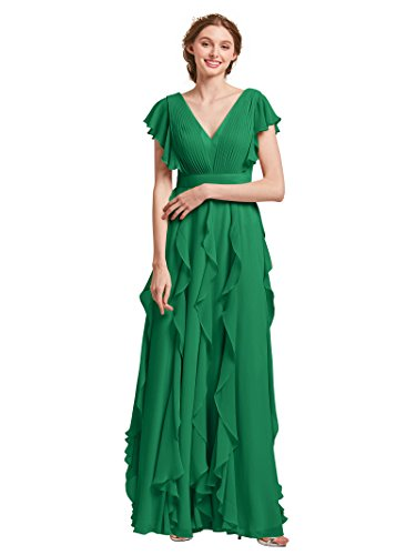 AWEI Women\'s Long Bridesmaid Dresses Plus Size Chiffon Formal Dress V Neck  Evening Gown for Girls, Emerald, US22