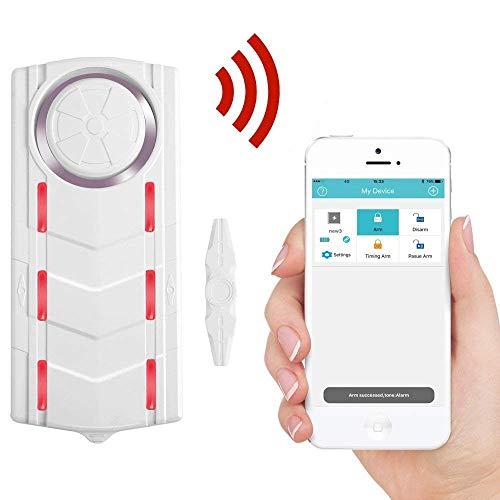 [해외]전화 APP 108dB 사이렌 표시등 과 가정을위한 Wsdcam 무선 블루투스 블루투스 자기 진동 창 문 경보 / Wsdcam Wireless Bluetooth Magnetic Vibrational Window Door Alarm for Home with Phone APP 108dB Siren Indicator Light