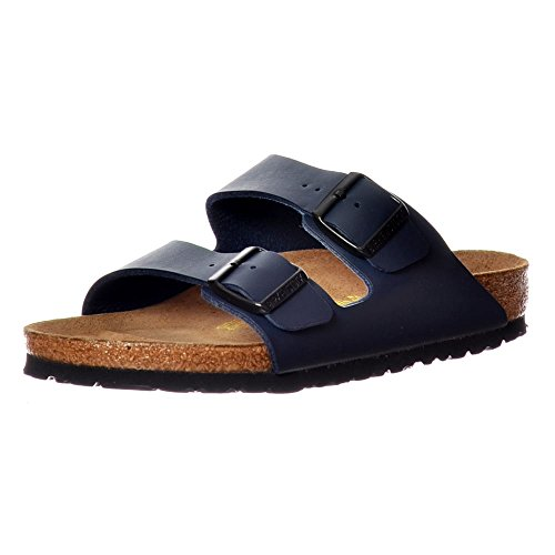 BIRKENSTOCK Women's BIRK-51751 Arizona Leather Sandals, Blue, 38 by Birkenstock
