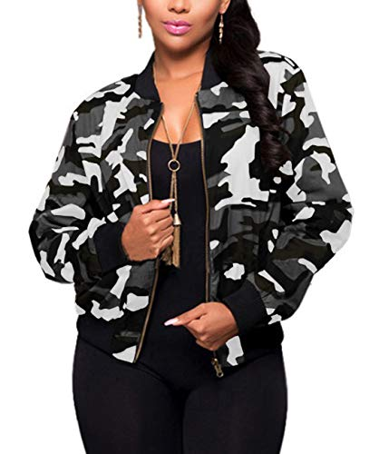 Women Camo Casual Jacket Sexy V Neck Long Sleeve Bodycon Camouflage Military Coat Pockets Zipper Slim Fit Lightweight