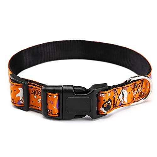 Adorrable Dog Collar for Halloween Adjustable Collar Cover for Large Pet Collars with Decoration,Orange1,Neck 23.6