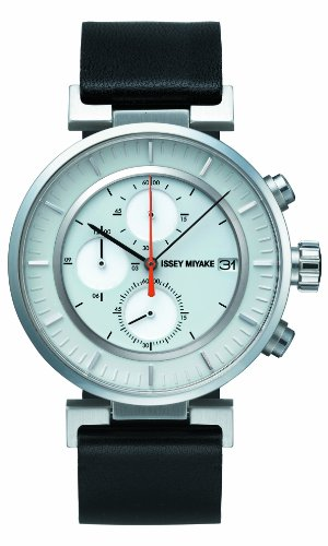 Issey Miyake W Unisex Quartz Watch with White Dial Chronograph Display and Black Leather Strap SILAY004
