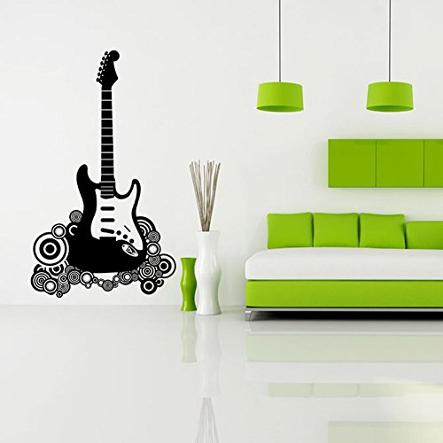 "BIBITIME Rock Star Guitar Decal Wall Vinyl Decor Sticker Bedroom Music Kids Room Decor Children Nursery Home Art Mural,16.93""x18.11"""