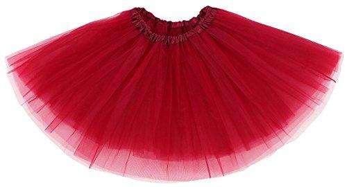 Women's Classic 3-layered Tulle Tutu Skirts Ruffle Pettiskirt,Burgundy (Womens Red Tutu Skirt)