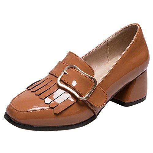 COOLCEPT Women Block Heels Court Shoes Yellow