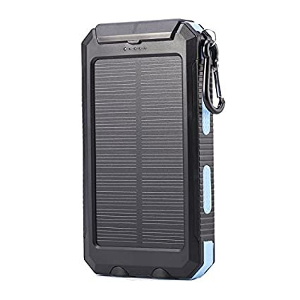Black Adventure Life Fitness Portable Phone Charger by ALF Powerful 10000mAh Solar Charging Dual USB Bonus Safety 2 LED Lights Compass