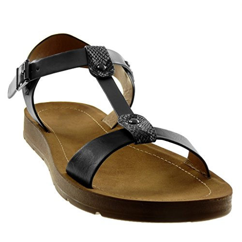 Moda De Cm Tobillo Sandalias Angkorly Correa Serpiente Tachonado Zapatillas Plataforma Mujer Tanga 2 Piel Negro O5wIOqXpnx