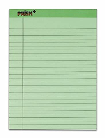 TOPS Prism Plus 100% Recycled Legal Pad, 8-1/2 x 11-3/4 Inches, Perforated, Green, Legal/Wide Rule, 50 Sheets per Pad, 12 Pads per Pack - Recycled Paper Pads