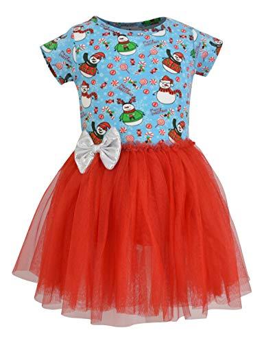 Unique Baby Girls Snowman Print Christmas Tutu Dress
