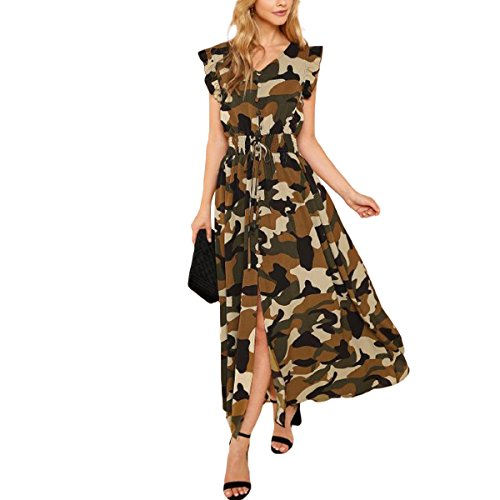 ZMLIA Womens Camouflage Print Ruffles Button up V-Neck Short Sleeve A-Line Maxi Dress Size M (Camouflage)