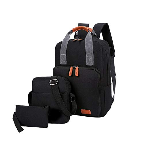 3 Pcs/Set Unisex Backpacks for School Teenagers Fashion Compound,Black,15 Inches