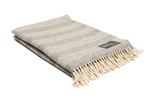 Natural Grey Stripe Throw Blanket ()