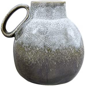 Bloomingville 6 H Stoneware Reactive Glaze Finish Handle Each one Will Vary Vase, Green