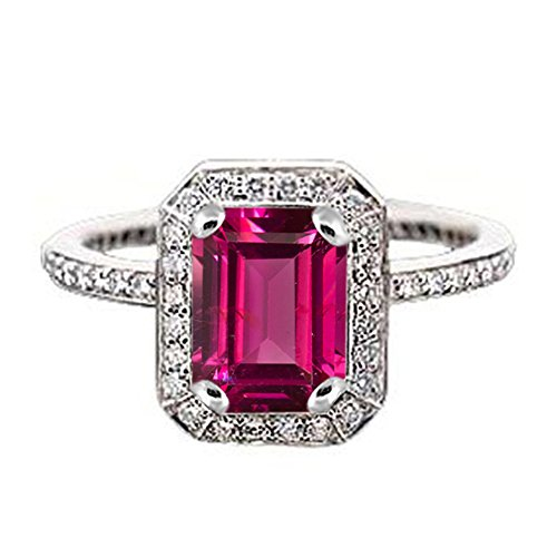 TVS-JEWELS Wedding Engagement Ring 925 Sterling Silver Platinum Plated Pink & White Stone (6.5) by TVS-JEWELS