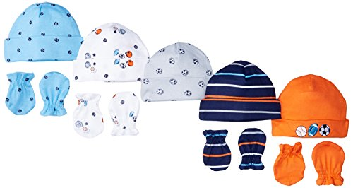 Gerber Baby Boys' 9-Piece Cap and Mitten Bundle, Little Athlete Newborn