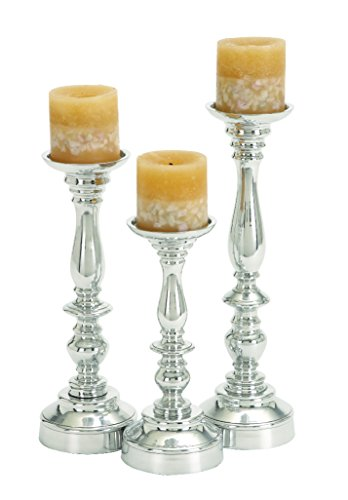 Deco 79 Aluminium Candle Holder, 14 by 12 by 10-Inch, Set of 3 Garden Candle Holders 3 Piece