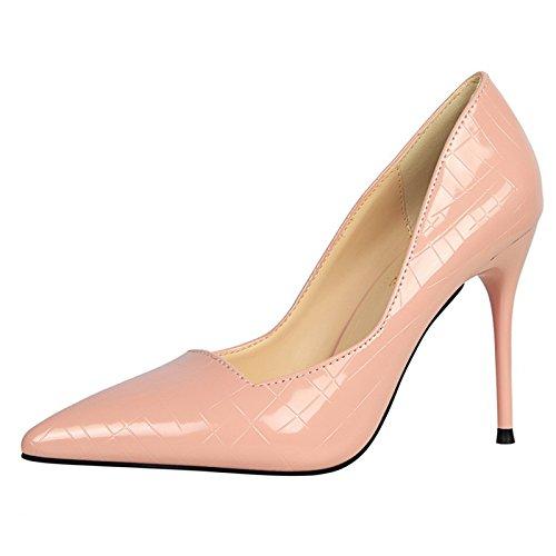 YMFIE Laca de estilo europeo señaló delgada superficial sexy zapatos de tacón solo zapatos Zapatos de damas,37 UE,d 37 EU