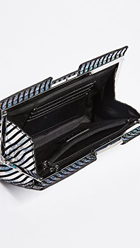 Clutch Stripe MILLY Small Metallic Silver Frame xTHqIawH