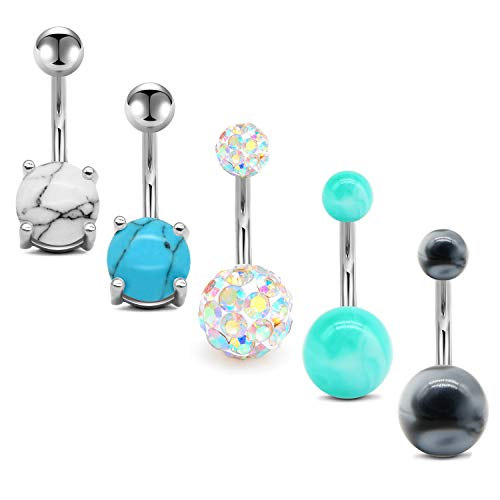 MODRSA Belly Button Rings 14G Surgical Stainless Steel Navel Barbell Pack for Women Girls Piercing Rings Jewelry Belly Bar 3/8