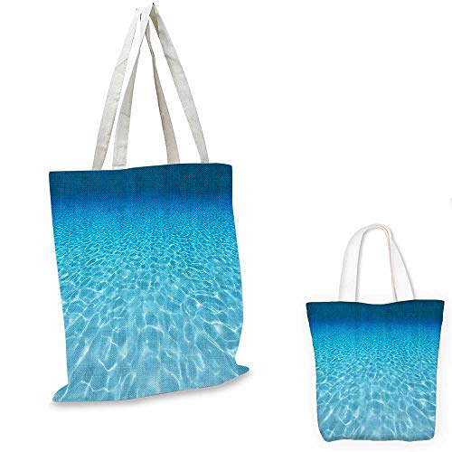 """Ocean Decor Collection fashion shopping tote bag Tranquil Underwater Scene Clean Sandy Bottom Surface with Sunlight Coming From Up Picture Print canvas bag shopping Navy Aqua. 13""""x13""""-10"""""""