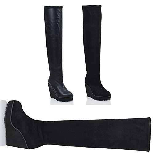 Image of Essex Glam Womens Synthetic Stretch Over The Knee Thigh High Platform Wedge Heel Boots