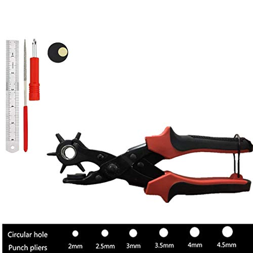 Revolving Punch Plier Kit,Punch Hole Tool,Professional Puncher including Punch Plier Screwdriver and Grinding Rod for Belt,Saddle,Watch Strap,Shoe,Paper,canvas,etc
