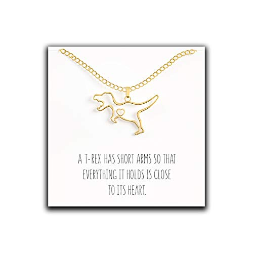 Happy Kisses Dinosaur T-Rex Necklace - Cute Pendant Gift - Sweet and Funny Message Card ()