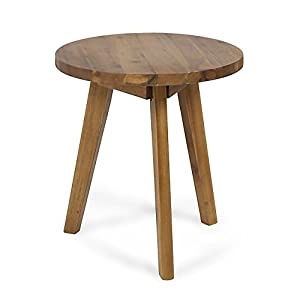 Great Deal Furniture Candance Outdoor Side Table, Farmhouse-Style, Light Gray Acacia Wood Frame