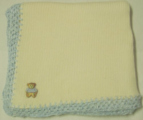 Knitted on Hand Knitting Machine Ivory Cotton Hand Crochet Finished with Blue Chenille Infant Boys Large Blanket Size 32 By 45 Inches with Teddy Bear Patch