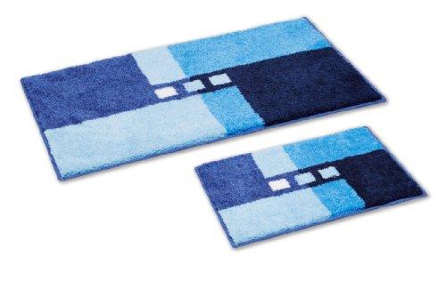 Grund 233792044 Badteppich ohne Ausschnitt Canton, 50 x 80 / 50 x 40 cm, 2-teilig, blau
