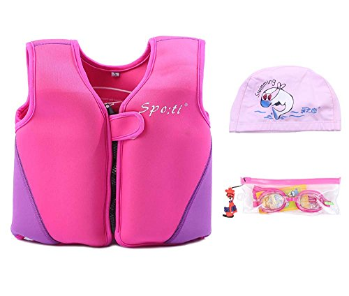 Genwiss Child's Swim Large Life Jacket 5-7 Years Pink include Swimming Goggles and Swim Cap