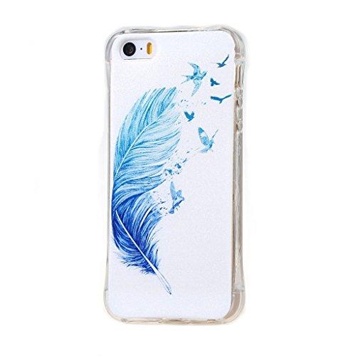 PowerQ Bubble Blase Serie Tropfen Widerstand buntes Muster TPU Case Hülle < Blue feather birds - für IPhone SE IPhoneSE >          4-Corner Gassack Blase Stoßstange Airbag Drop Resistance Pattern Muster Druck