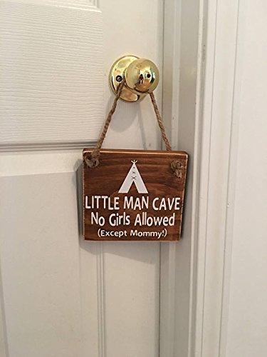 Little Man Cave No Girls Allowed ™ Indian Tee Pee Door (Contemporary Sign Men)