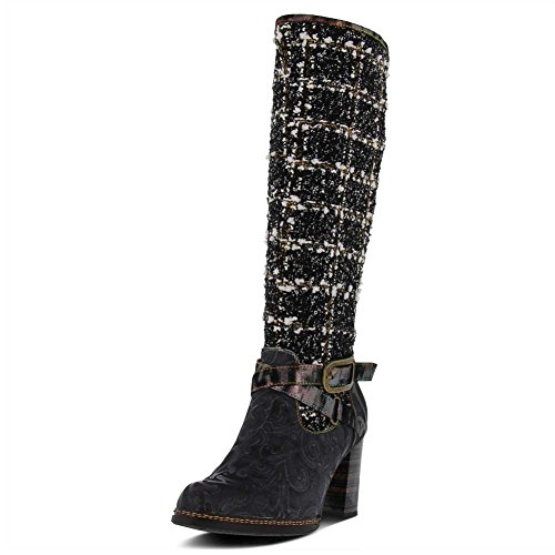 Women's Step Spring Black Leather L`Artiste Multi Tweed by Boots tqU5AtEnPx