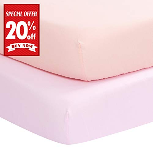 Summer New - Designthology (U.S.) Fitted Crib Sheet, 100% Cotton Muslin Crib Sheet for Standard Crib and Toddler Mattresses, 2 PCS Pink & Peachy Pink, Super Soft & Breathable, Tailored Snug Fit