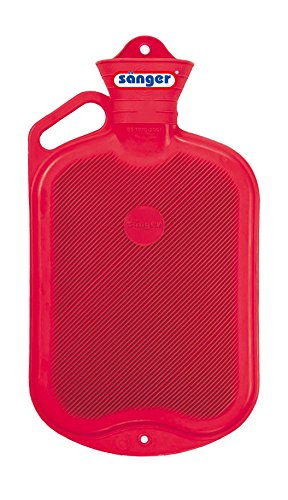 Sänger Rubber Hot Water Bottle - 2 Litres (Red w/ Handle, Single-side Ribbed) by SANGER