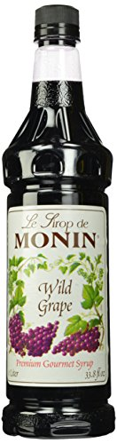 Monin Flavored Syrup, Wild Grape, 33.8-Ounce Plastic Bottles (Pack of 4) - Grape Syrup